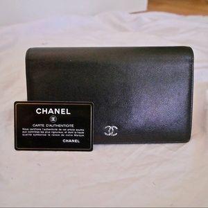 Chanel Black Caviar Classic Long Flap Wallet